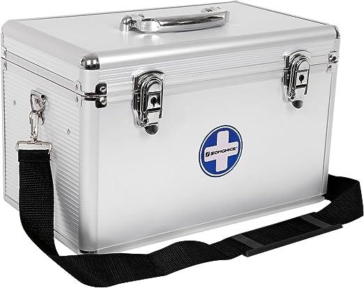SONGMICS Botiquín de Primeros Auxilios, con Bandolera y Asa, Marco de Aluminio, ABS, 35 x 20,5 x 23 cm, Plateado JBC362S: Amazon.es: Hogar