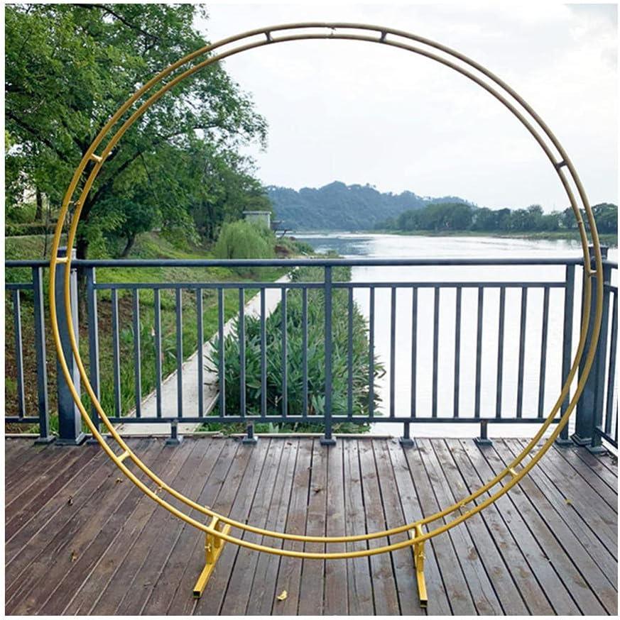 Large Size Garden Arch|Iron Double Rod Round Ring Wedding Arch|Outdoor Birthday Party Round Arch Decoration|Background Shelf Decoration Frame-Golden_Diameter 240cm (94.4in)