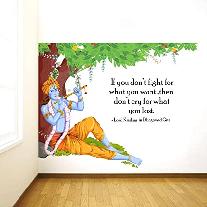 Image of: Inspiring Quotes Buy Rawpockets lord Krishna Flute Bhagavad Gita Quote Wall Sticker pvc Vinyl Cm 90 Cm 120 Cm Multicolour Online At Low Prices In India Amazon Quotabulary Buy Rawpockets lord Krishna Flute Bhagavad Gita Quote Wall Sticker