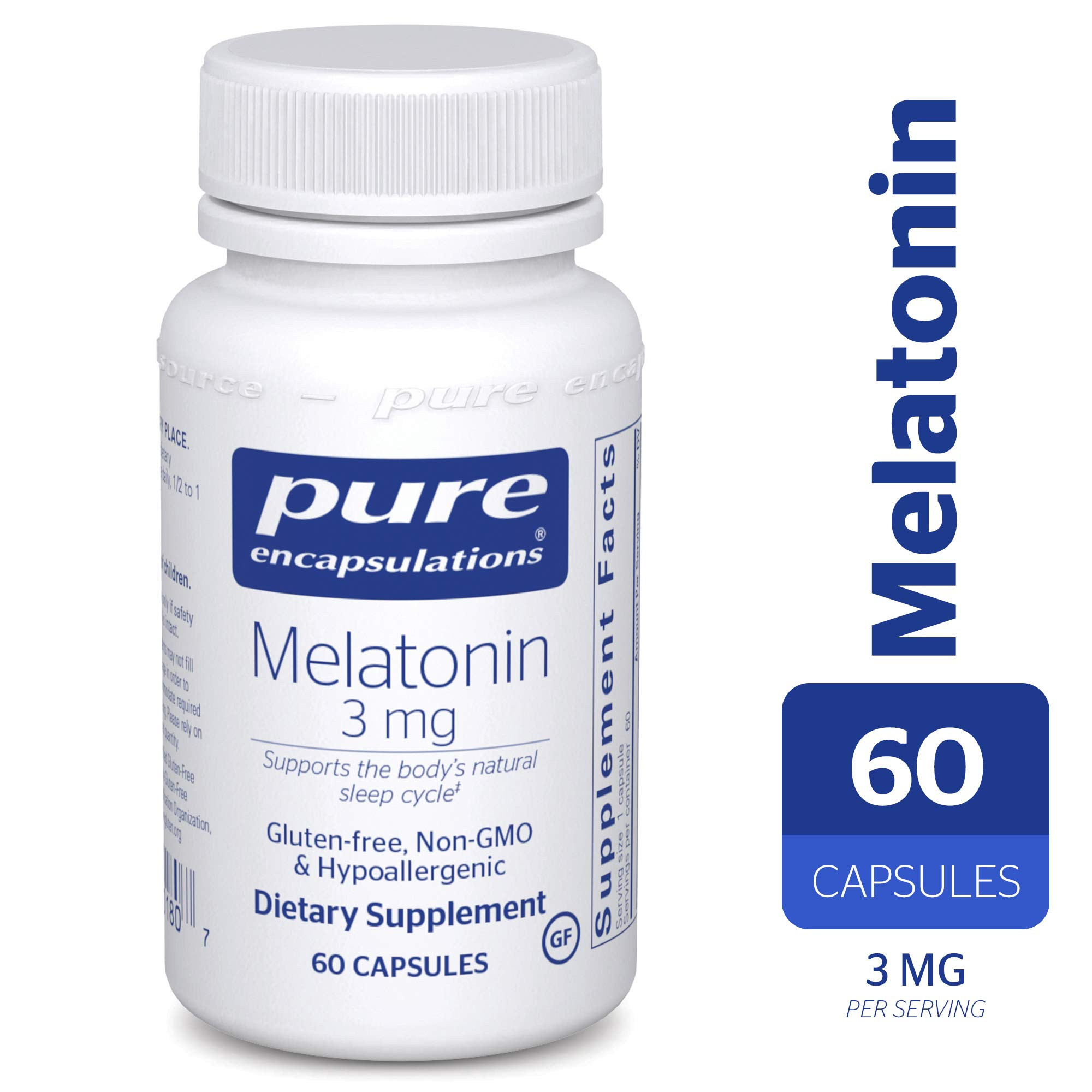 Pure Encapsulations - Melatonin 3 mg - Hypoallergenic Supplement Supports The Bodys Natural Sleep Cycle*