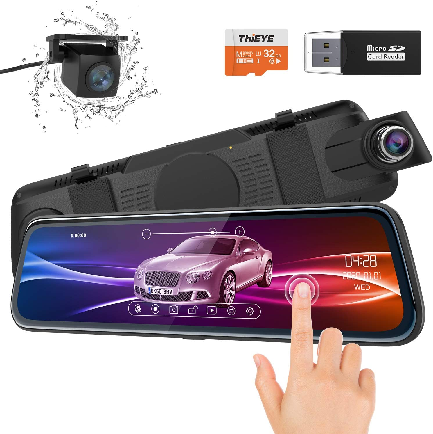 "ThiEYE Backup Camera Mirror Dash Cam 1080P 10"" IPS Full Touch Screen Front and Rear Dual Lens Waterproof Car Camera with Super Night Vision, 170° Wide Angle, G-Sensor (32GB TF Card Included)"