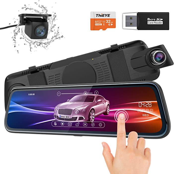 """ThiEYE Backup Camera Mirror Dash Cam 1080P 10"""" IPS Full Touch Screen Front and Rear Dual Lens Waterproof Car Camera with Super Night Vision, 170° Wide Angle, G-Sensor (32GB TF Card Included)"""