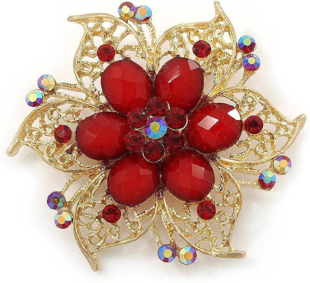 Broche de flores de filigrana de cristal y perlas de acrílico, color rojo, metal, tonos, color dorado brillante