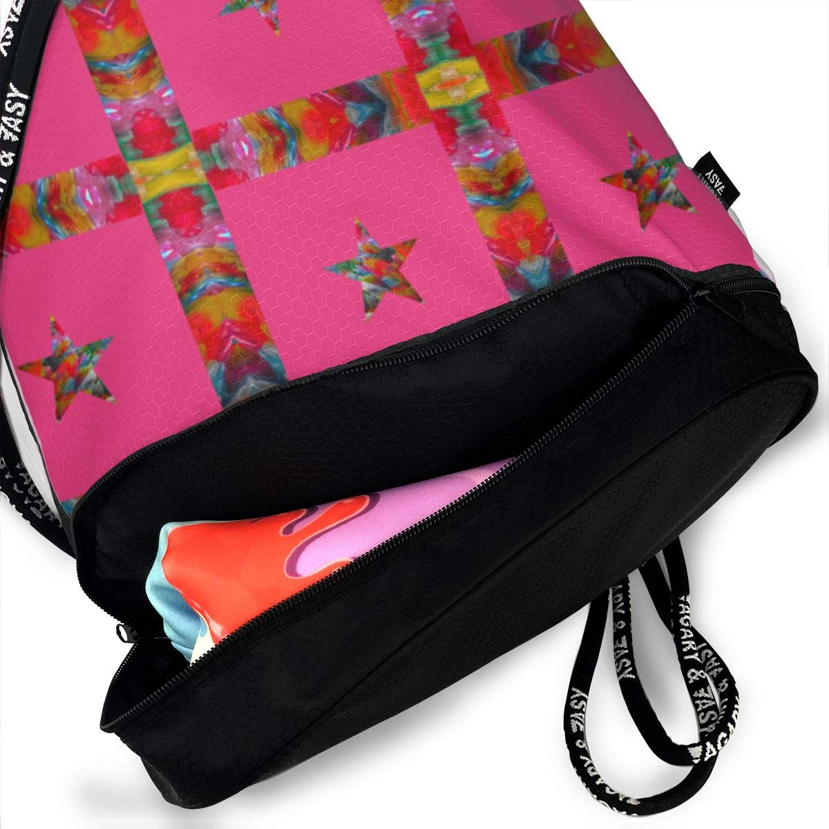 Star On Pink Drawstring Backpack Sports Athletic Gym Cinch Sack String Storage Bags for Hiking Travel Beach