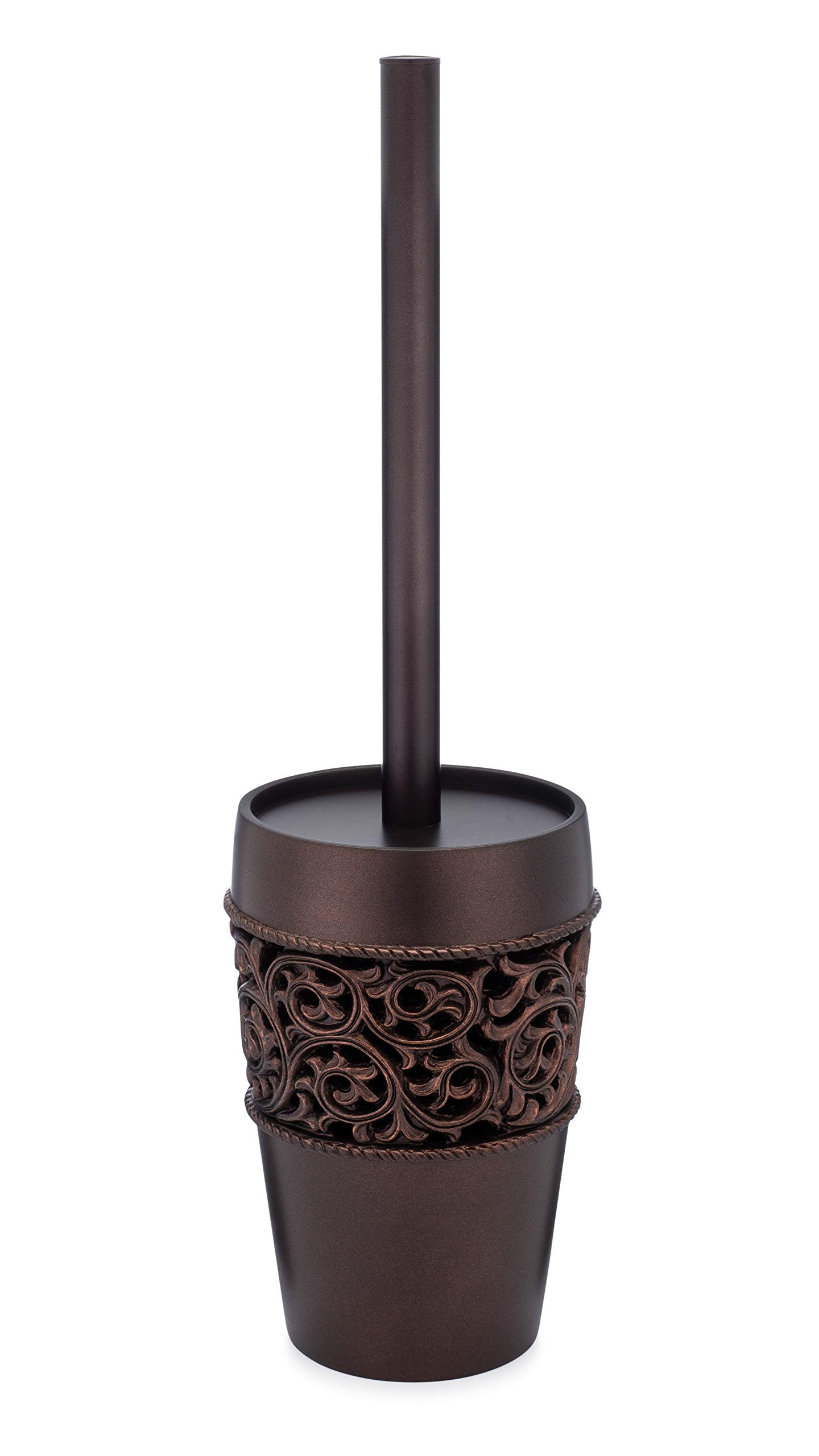 EssentraHome Freestanding Bronze Toilet Brush and Holder with Elegant Design, Rust Resistant