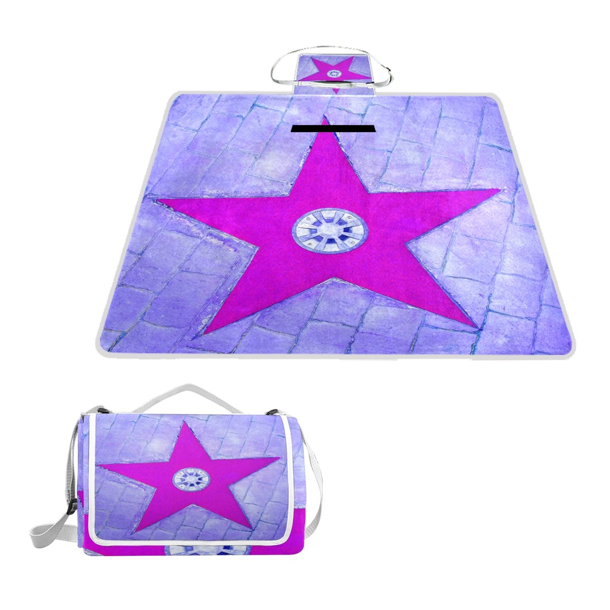 Yomole Light Purple Star Picnic Mat, Waterproof Pads Large Portable Blanket Tote Folding Rug for Beach, Camping, Park, Excursion by Yomole