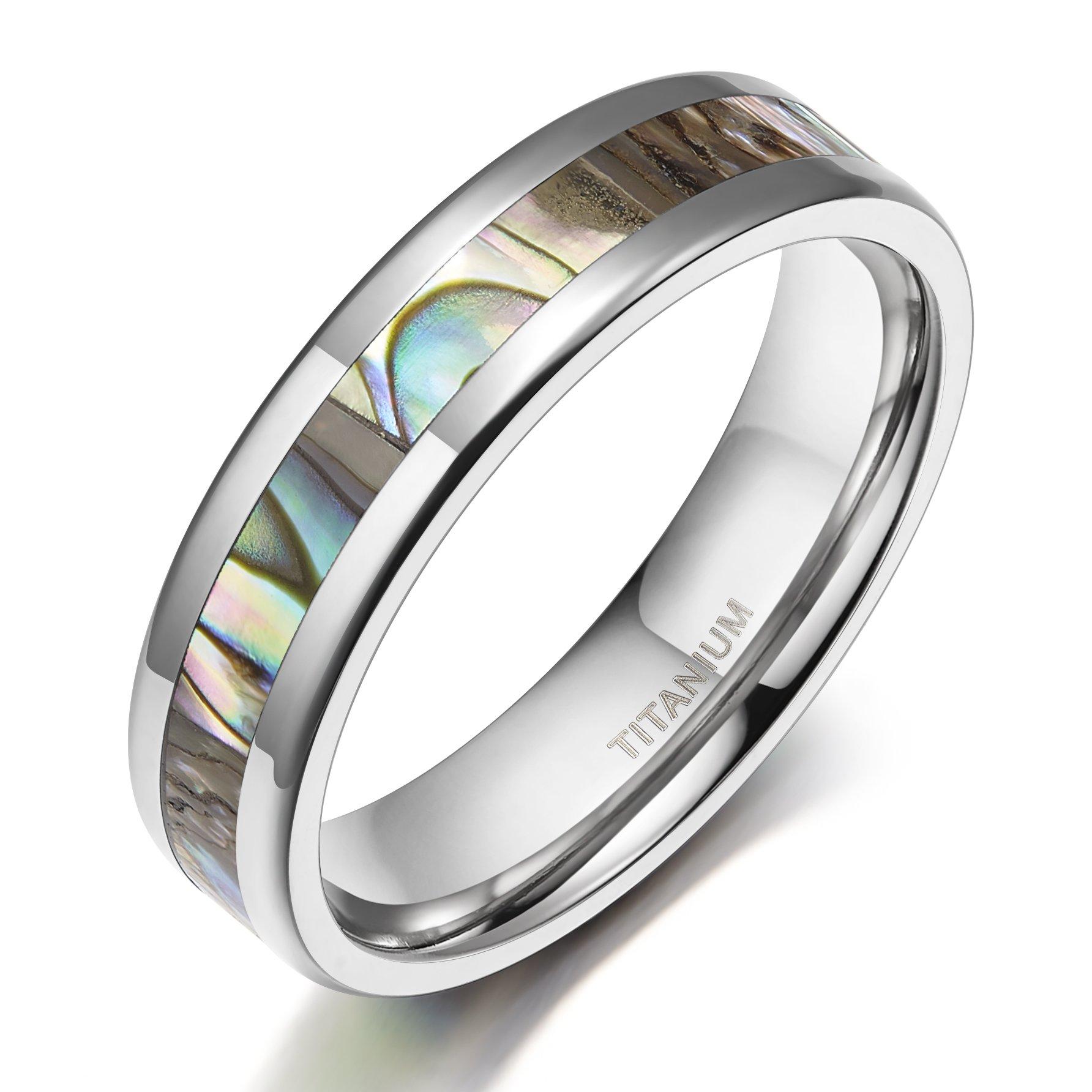 TIGRADE Mens Womens Titanium Ring Abalone Shell Inlay Wedding Bands Comfort Fit Beveled Edge