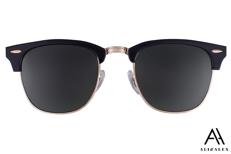 Ali/&Alex Jamie Clubmaster Semi Rimless UV Polarized Adult Designer Sunglasses for Men /& Women