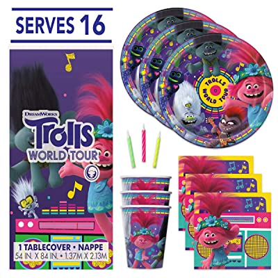 Trolls Theme Birthday Party Supplies - Serves 16 - Tablecover, Plates, Cups, Napkins, Candles: Toys & Games