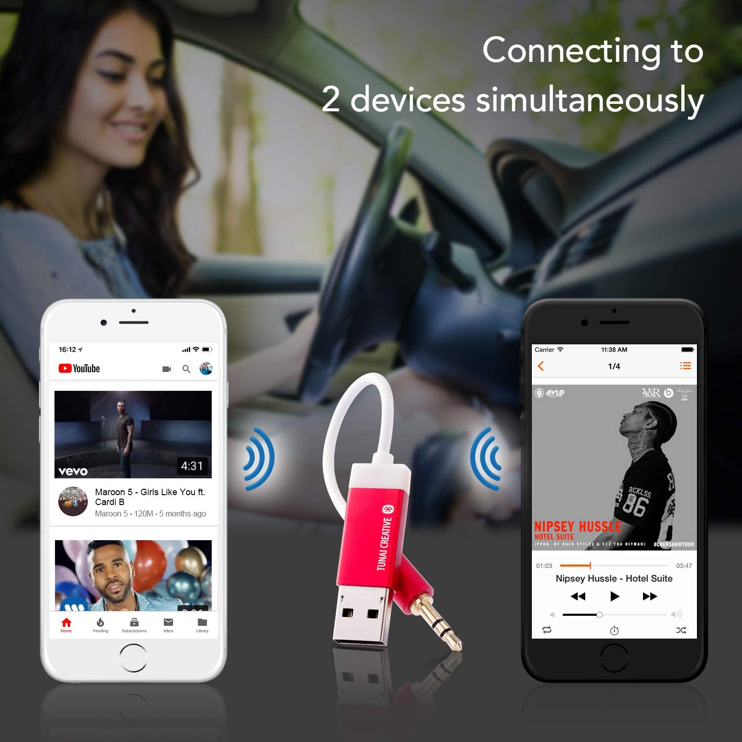 Premium Pack No Charging Needed TUNAI Firefly Bluetooth Receiver: World/'s Smallest USB Wireless Audio Bluetooth 4.2 Adapter with 3.5mm AUX for Car//Home Stereo Music Streaming; Auto On Red