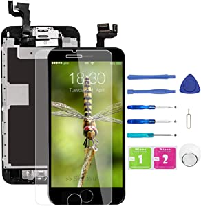 for iPhone 6s Screen Replacement Black, LCD Display and Touch Digitizer Replacement (A1633, A1688, A1700) w/Home Button Proximity Sensor, Ear Speaker, Front Camera, Screen Protectorand Repair Tools