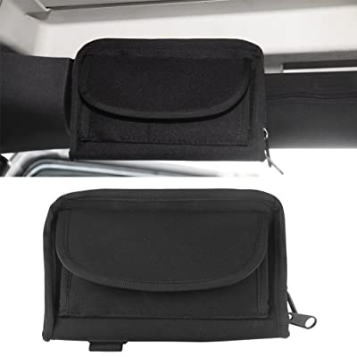 MINGLI 1PC Roll Bar Sunglasses Holder Storage Bag Pocket for Jeep Wrangler JK Unlimited 2/4 Door Black Small Things Accessories Storage Pouch: Automotive