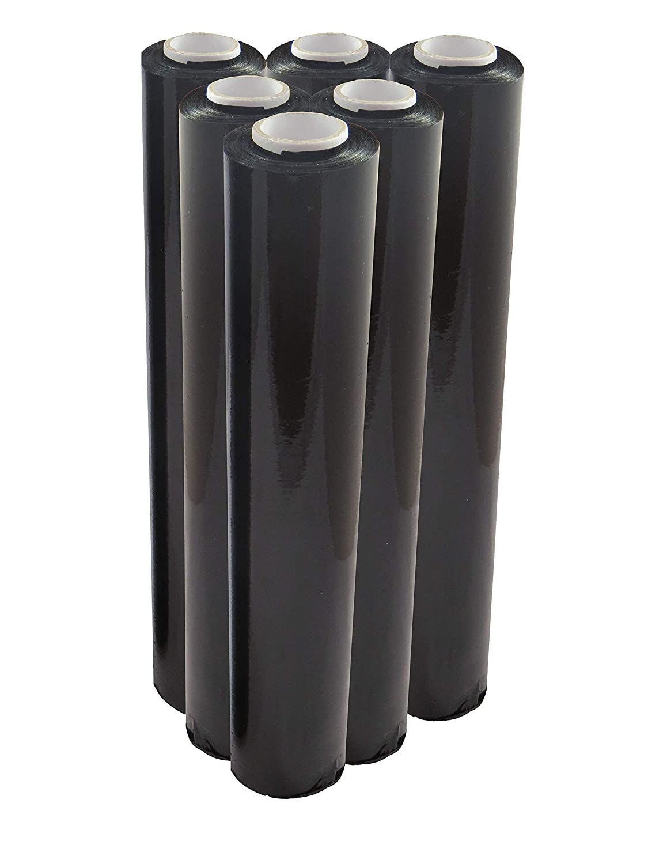 6 x Rolls of Black Pallet Stretch Shrink Wrap 400mm x 200M