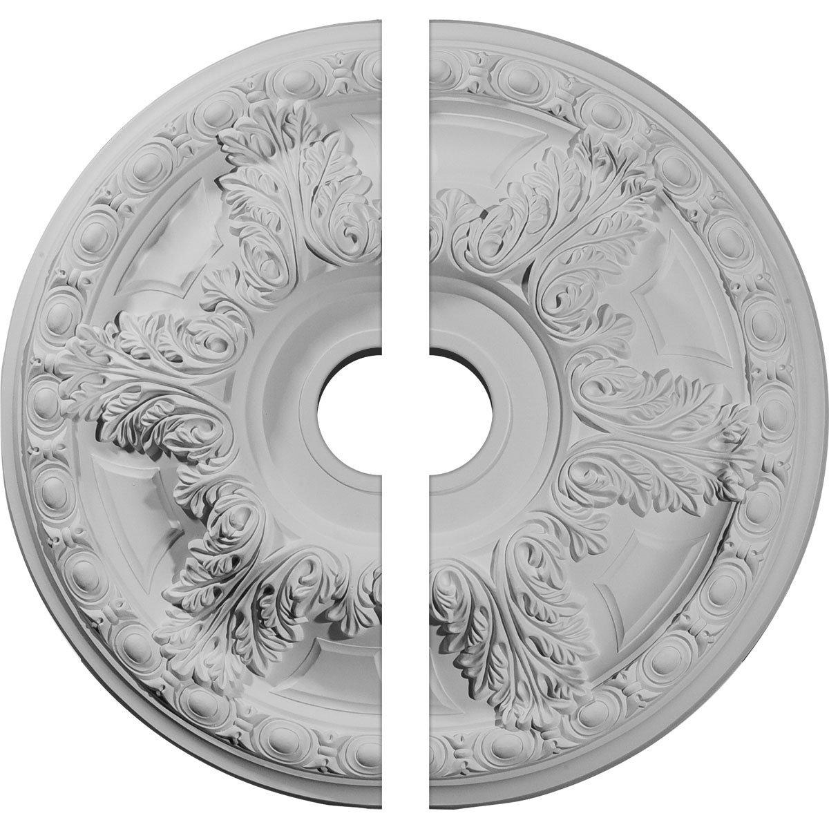 Ekena Millwork CM23GA2 23 3/8''OD x 3 5/8''ID x 2 1/2''P Granada Ceiling Medallion, Fits Canopies up to 7-1/8'', 2 Piece