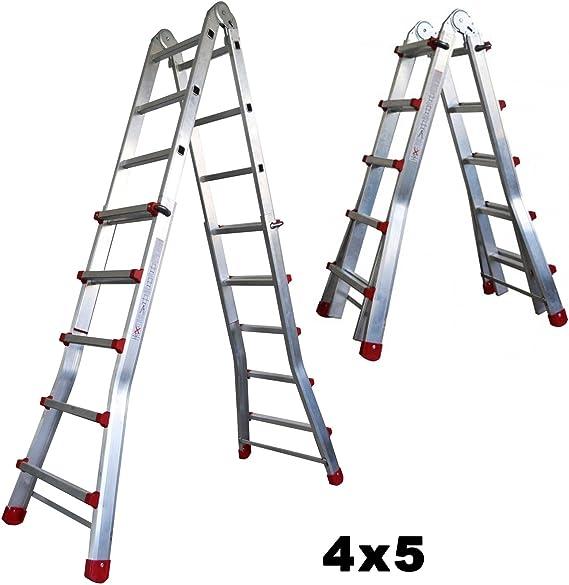Escalera Articulada Telescópica Plegable 5+4 en 2 Tramos Profesional de Aluminio. Escada Articulada Telescópica (Hasta 18 Peldaños/Até 18 degraus): Amazon.es: Bricolaje y herramientas