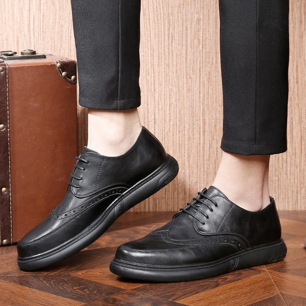 Muyin Mens Lace up Loafers Shoes Breathable Genuine Leather Casual Business Soft Outsole Flats Oxfords