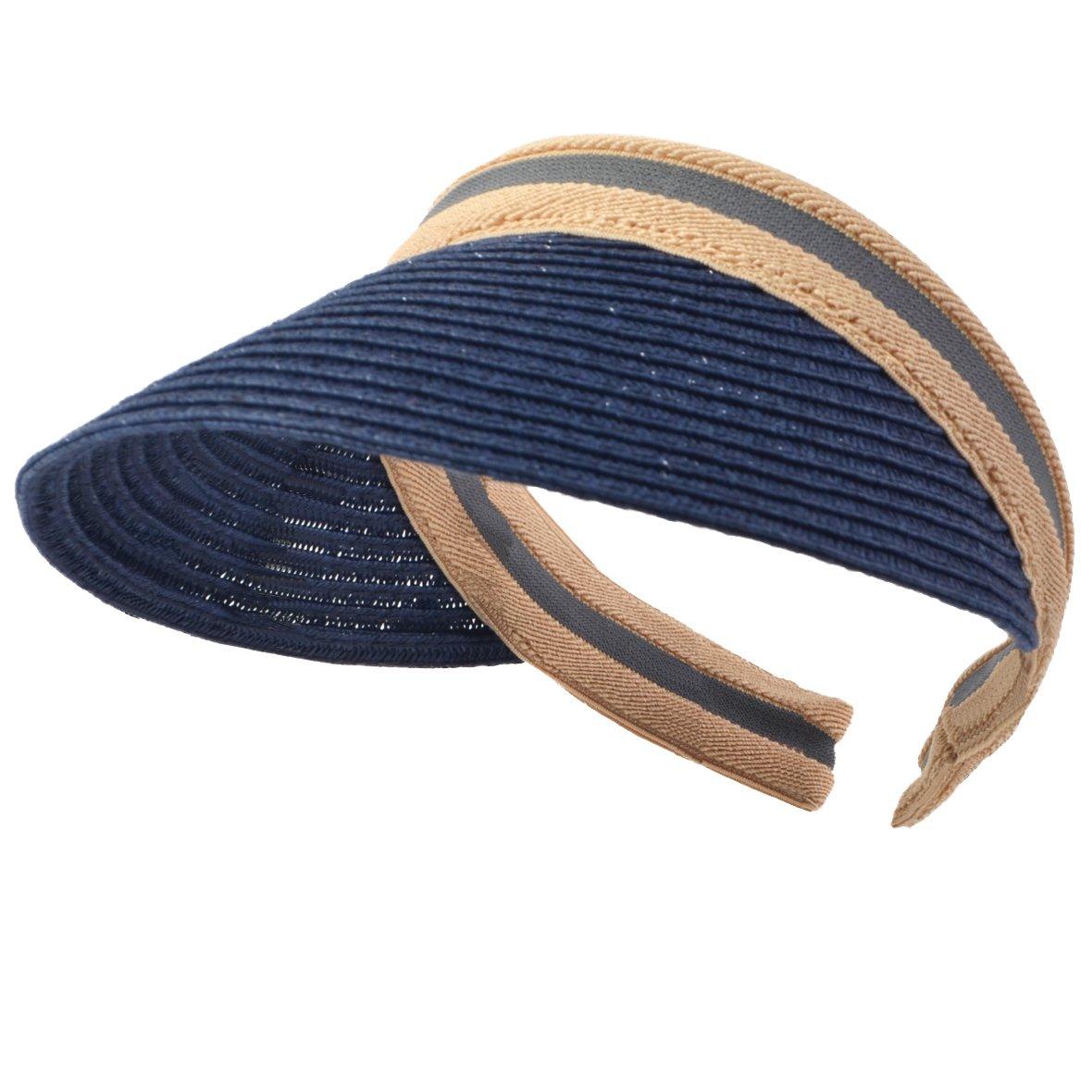 Women Men Straw Sports Tennis Golf Sun Visor Hats (Navy)