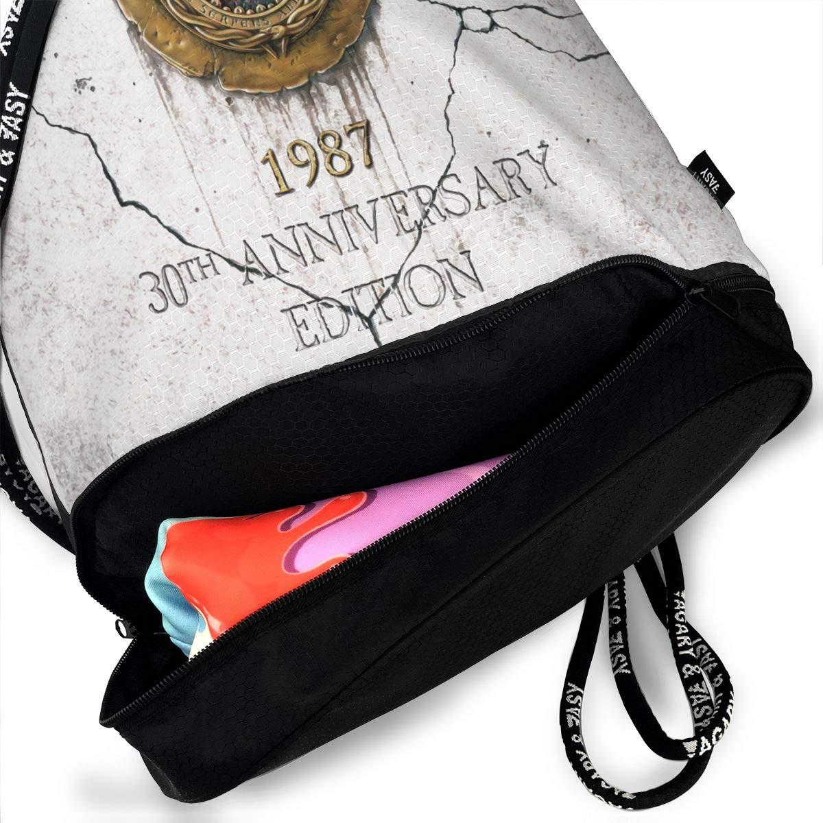Chenjunyi Whitesnake 30th Anniversary Drawstring Backpack Foldable Gym Tote Dance Bag for Swimming Shopping Sports Women Men Boys Girls