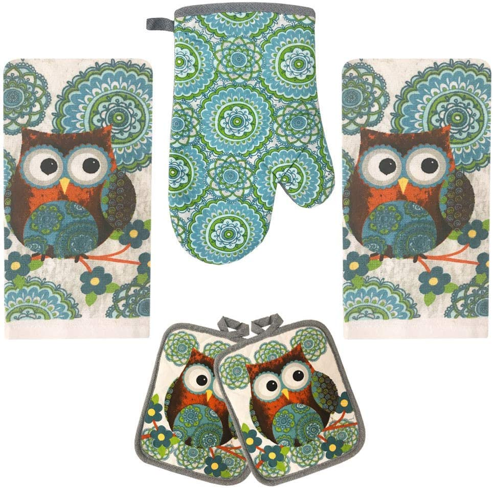 Lobyn Value Packs Kitchen Towel 5 Piece Linen Set 2 Towels 2 Pot Holders 1 Oven Mitt (Owl Big White)
