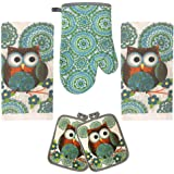 Lobyn Value Packs Kitchen Towel 5 Piece Linen Set 2 Towels 2 Pot Holders 1 Oven Mitt Owl Big White