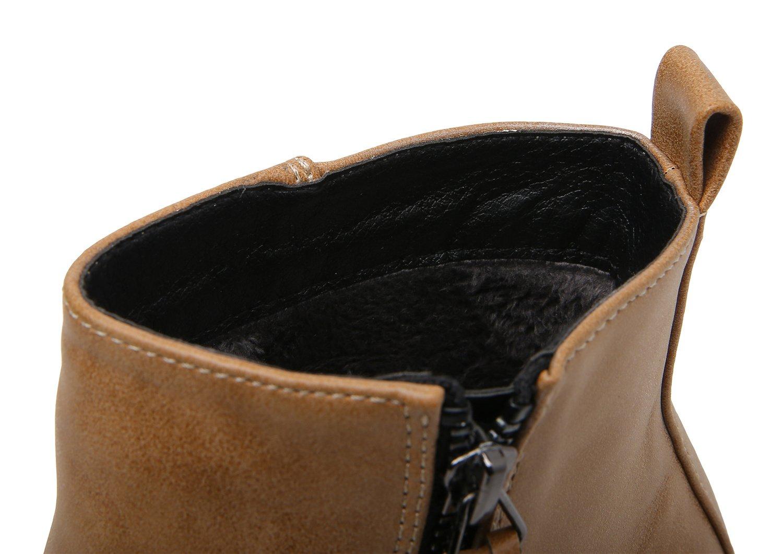 Smilun Kids¡¯s Chelsea Ankle Chelsea Boots Zip Flats Low Heel with Block Western Chunky Heel Chelsea Boots Zip for Kids Brown US6 by Smilun (Image #5)