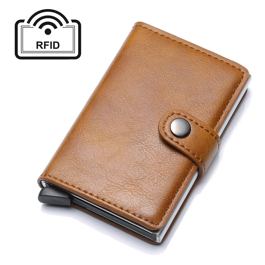 Business Card Credit Card Holder RFID Blocking Geniune Leather Vintage Aluminum MEETO
