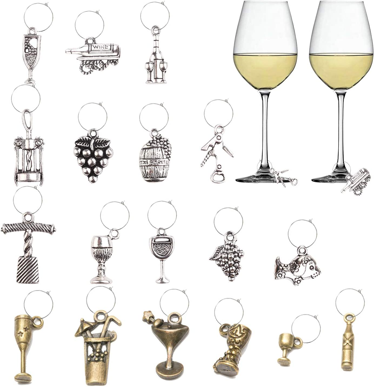 Set of 4 Antique Bronze Hand-Blown Grape Wine Glass Charms Great X-mas Gift Idea