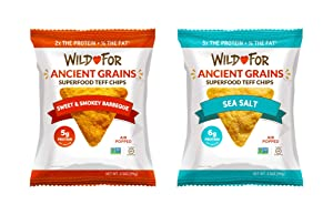 WILD FOR Tortilla Chips | Made with Teff an Ancient Grain | High Plant Protein | Superfood Vegan Snacks | Gluten Free | Sea Salt & BBQ Variety | 14 oz (4 x 3.5 oz bag)