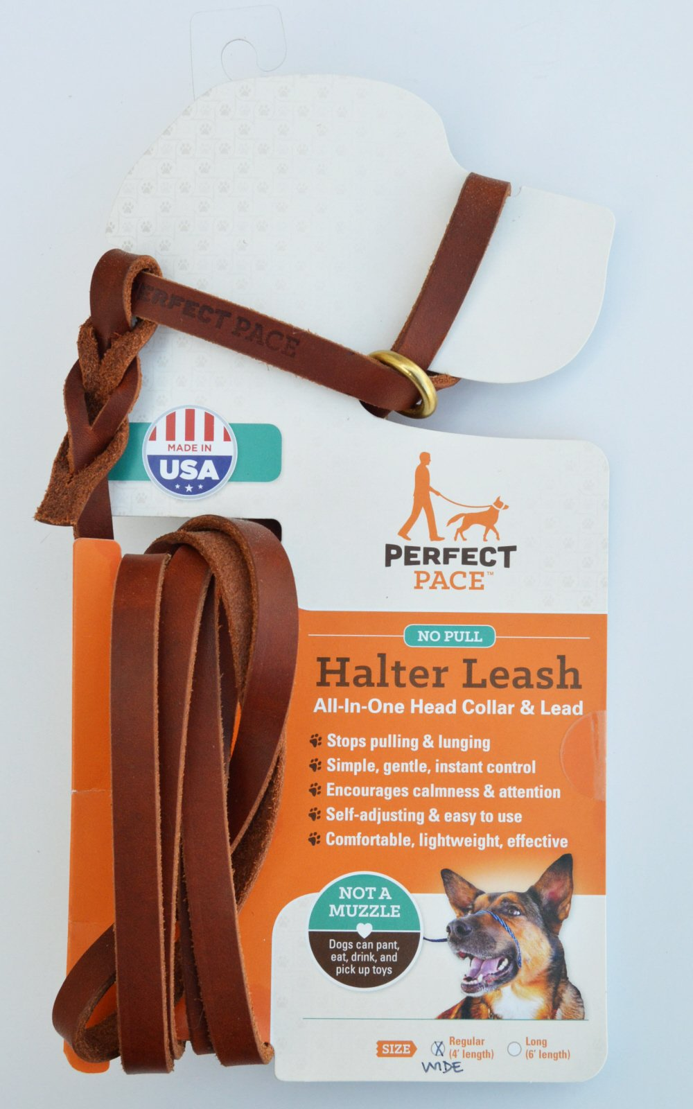 Leather Perfect Pace Halter Leash (Tan, WIDE 4' Leather) by Bold Lead Designs