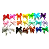 100 Pcs - 21 Colors Cute Satin BOW Ribbon Applique Embellishment Decoration - Size 20mm X 25 Mm Assorted Color