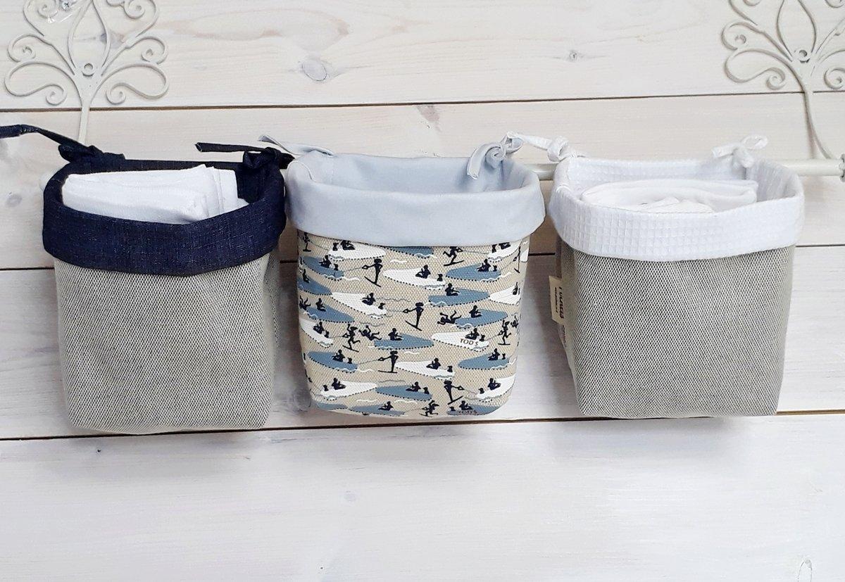 Nursery Organizer baby crib organizer fabric Baskets with tying laces - Mint navy blue sky jet