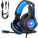 Gaming Headset for PS4, Ultra Light Xbox One Headset with Noise Canceling Mic and Upgraded RGB Light, PC Headset with…