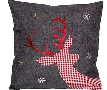 Kissenbezug Weihnachten Anthrazit Hirsch Rot Weiß Kariert Kissenhülle 40x40 Cm Nordisch Landhaus Advent Kissenbezug 40x40 Cm