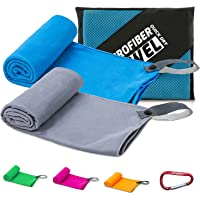 YESDEX Microfiber Gym Sport Towel, Quick Dry Fast Absorbent Towel 2-Pack for Travel, Hiking, Camping, Fitness…