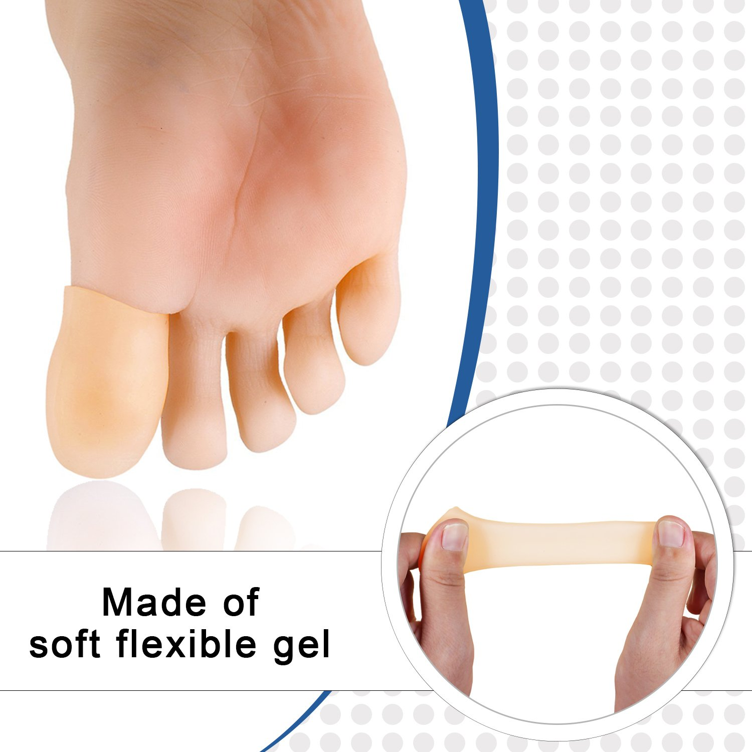 Dr. Foot's Gel Toe Caps Prevents Callus Relieve Pain fromCorns, Blisters, Hammer Toes Bunion Pain Relief - 4 Pairs (Beige)