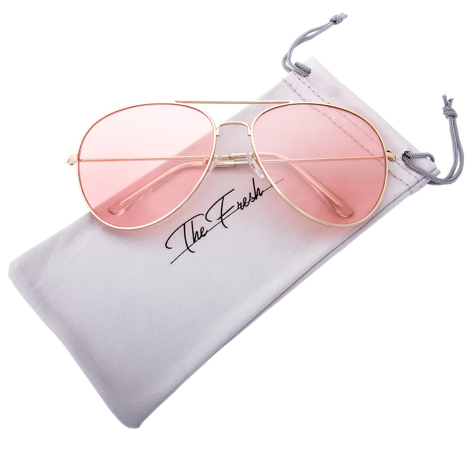 The Fresh Classic Metal Frame Light Color Lens XL Oversized Aviator Sunglasses with Gift Box (3-Glod, Pink)