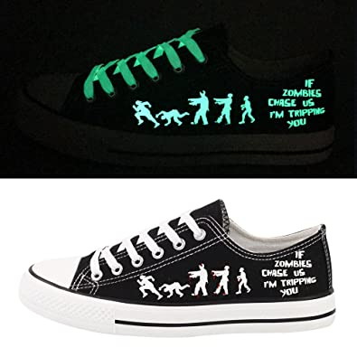 E-LOV Black Luminous Zombies Printing Canvas Shoes Low Cut Sneakers Lace Up  Funny Casual 653416a92ee