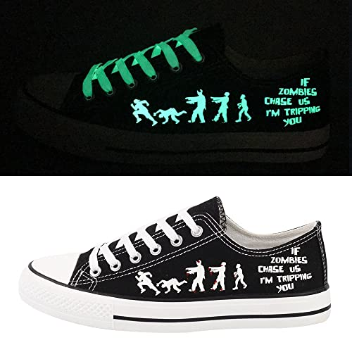 E-LOV Black Luminous Zombies Printing Canvas Shoes Low Cut Sneakers Lace Up  Funny Casual 46a3c050d09
