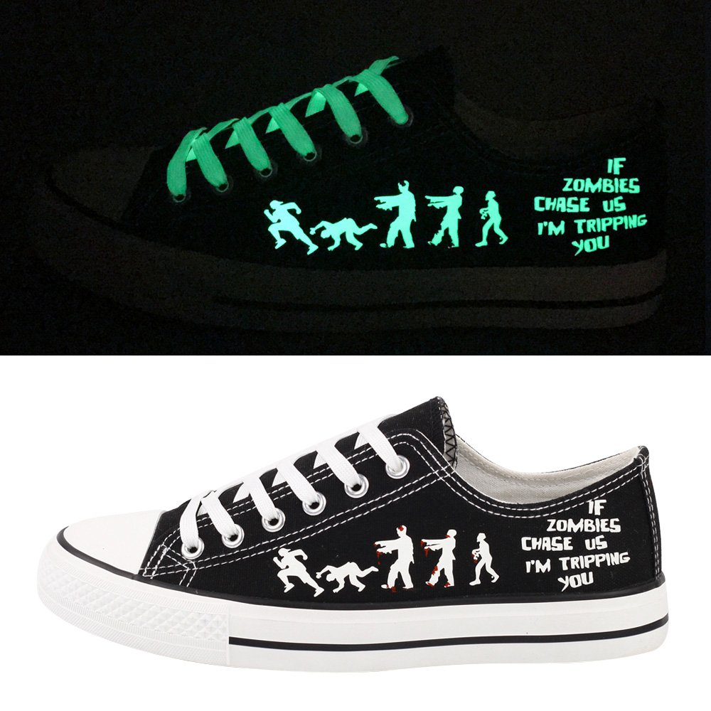 E-LOV Black Luminous Zombies Printing Canvas Shoes Low Cut Sneakers Lace up Funny Casual Shoes Glow in Dark for Men Gift Idea by E-LOV (Image #1)