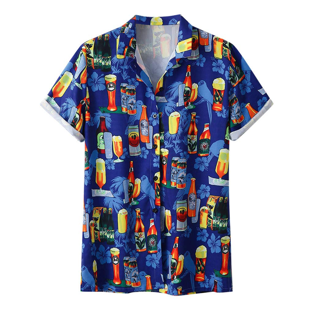 ZOMUSAR 2019 Blouse for Men, Stylish Men's Beer Festival Printed Hot Style Shirt with Short Sleeves Blue by ZOMUSAR