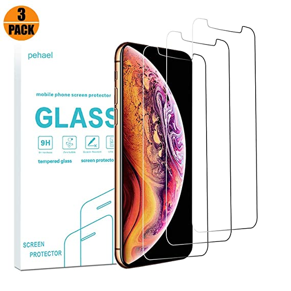 competitive price 3bfd1 2b7ed pehael Screen Protector for Apple iPhone Xs Max, High Definition Tempered  Glass for iPhone Xs Max, Case Friendly, Easy Install[6.5 inch][3pack]