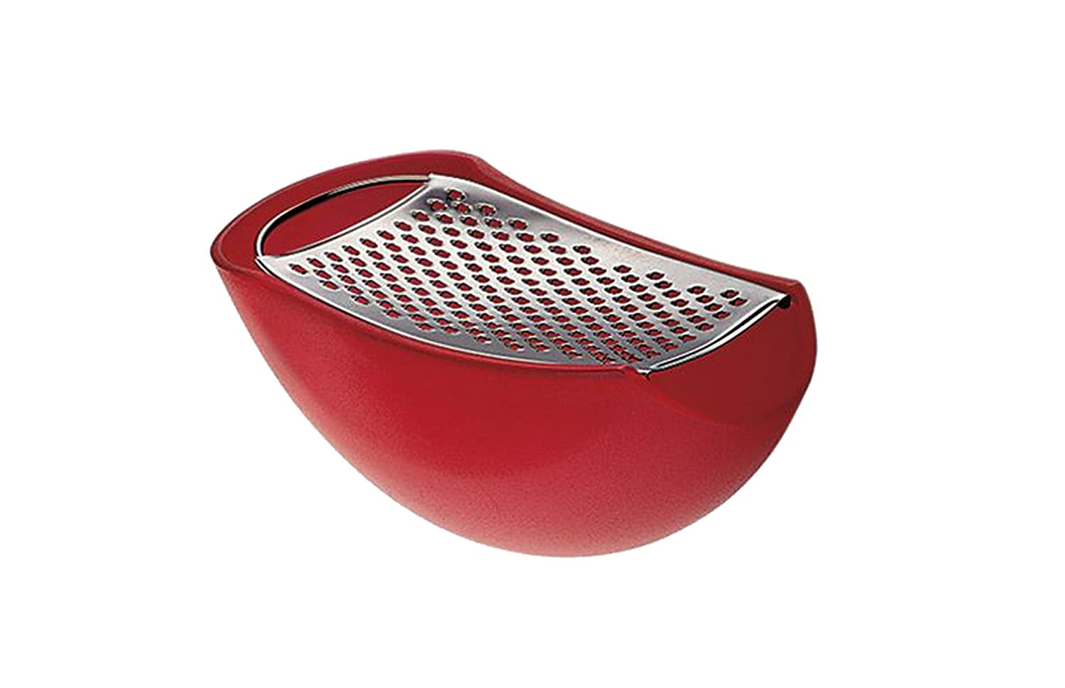 A Di Alessi Parmenide Grater with Cheese Cellar in Thermoplastic Resin, Ice and Steel Mirror Polished AARU01 I