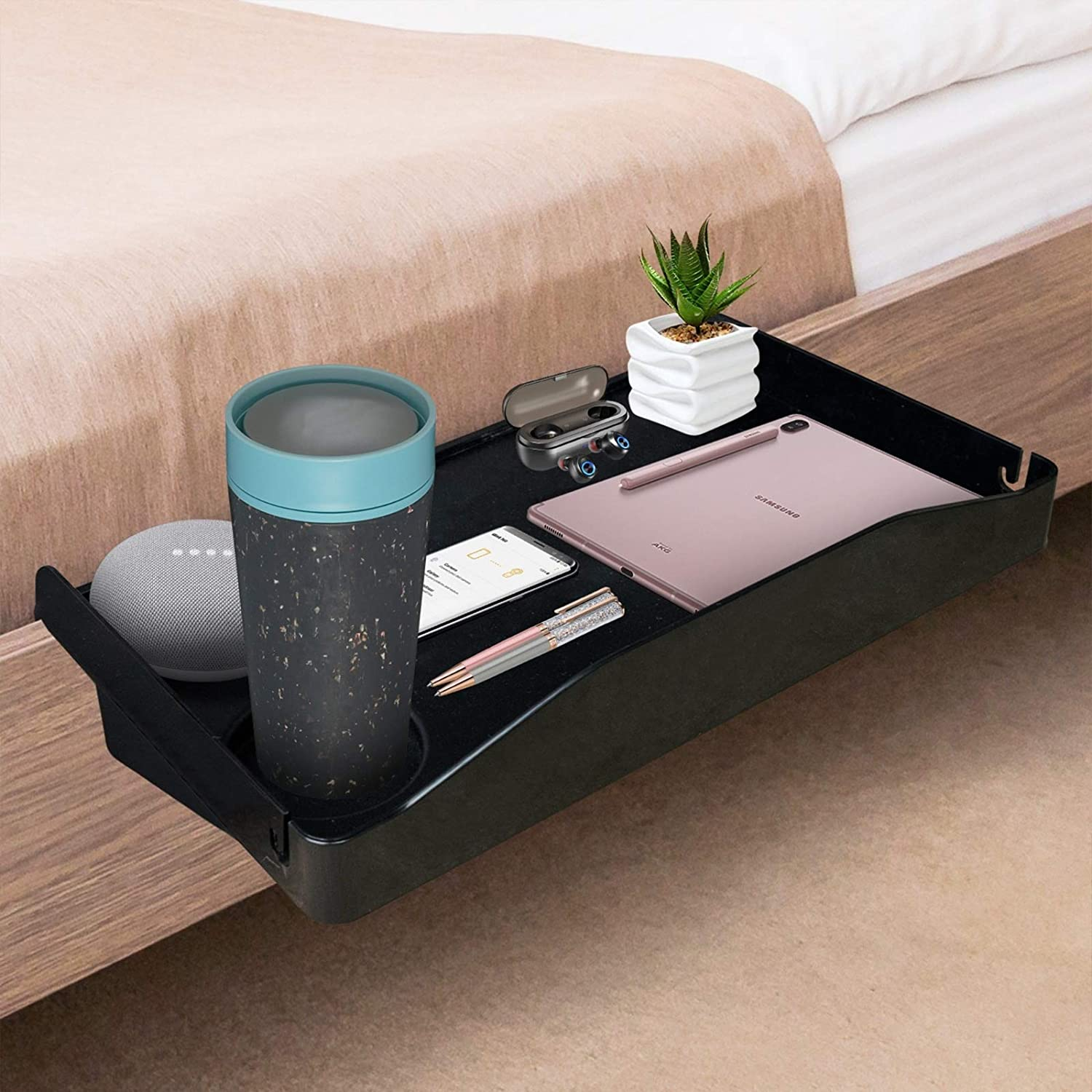 Bedside Shelf for Bed, Side Organizer Attachment Tray for Bunk Bed, Clip On Night Stand with Cup Holder