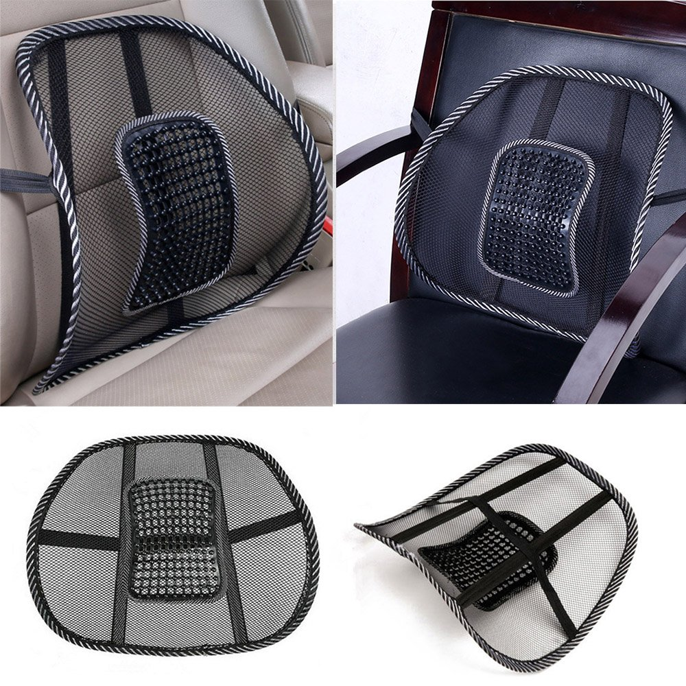 2 pcs Lumbar Lower Back Support Mesh Cushion Pain Relief Posture Massage Car Seat (CA0055 x 2) Groupcow