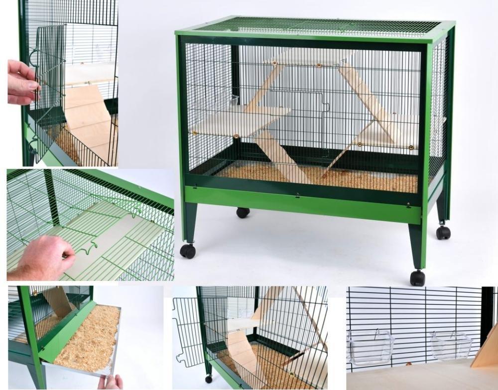 Rohrschneider Nagerhaus, Nagerkäfig Palma in grün, Maße: ca. 104 x 59 x 100 cm