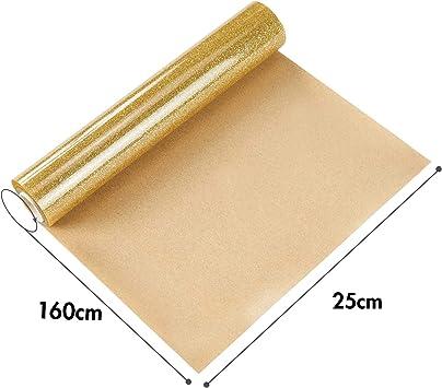 Topmail PVC Transferencia de Calor Vinilo Máquina de Prensa de Calor Corte Plotter Cortador Camiseta Papel de Lámina DIY 25 x 160 cm (Dorado): Amazon.es: Hogar