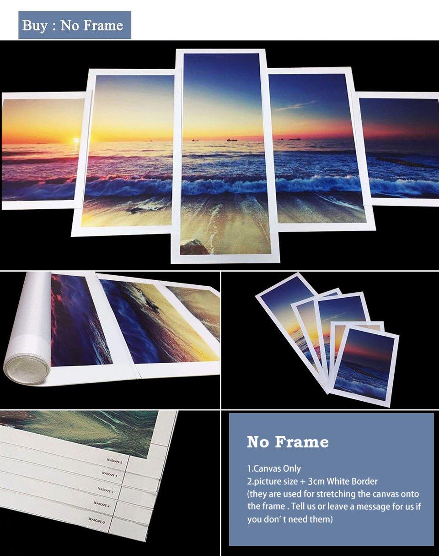 alicefen Peinture Moderne Toile 5 pi/èces m/ère Nature Coquelicot Fleur Salon Mur Art Photos Home Deco No Frame