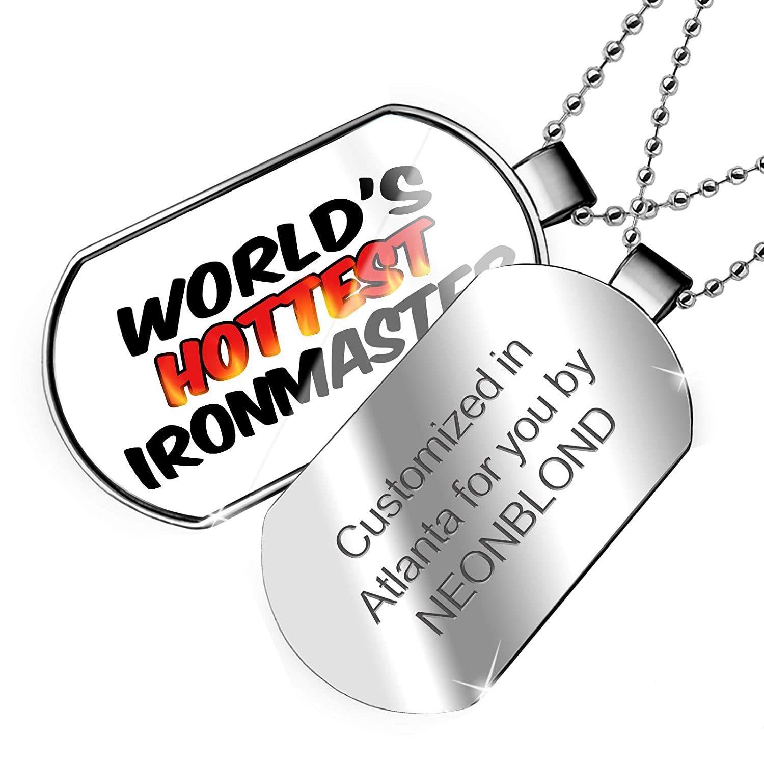 NEONBLOND Personalized Name Engraved Worlds Hottest Ironmaster Dogtag Necklace