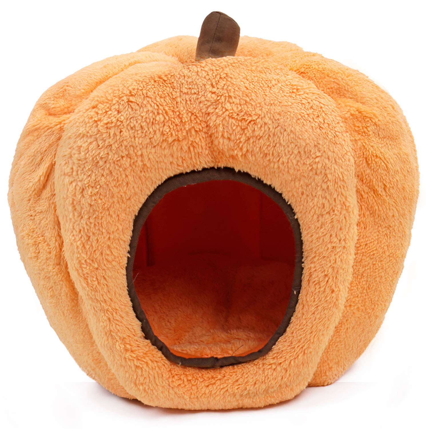 PAWZ Road Halloween Cozy Cat Bed, Puppy Hut Kitty Cave Pumpkin-Shaped Kennel, Non-Slip and Durable for Cats and Small Dogs by PAWZ Road