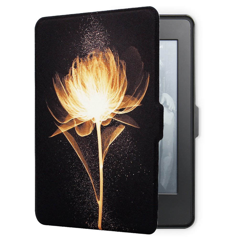 Young me martShell Case for Kindle Paperwhite with Hand Strap - The Thinnest and Lightest Leather Cover Auto Sleep / Wake for All-New Amazon Kindle Paperwhite (Golden Flower)
